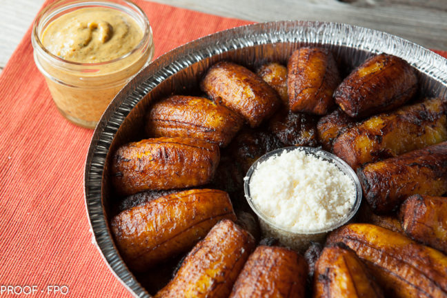 Tray of sweet Plantains with queso fresco
